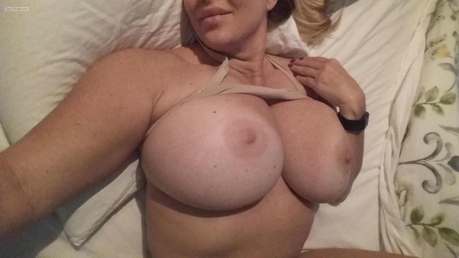Tit Flash: My Tanlined Very Big Tits (Selfie) - Topless Under Girl from United States