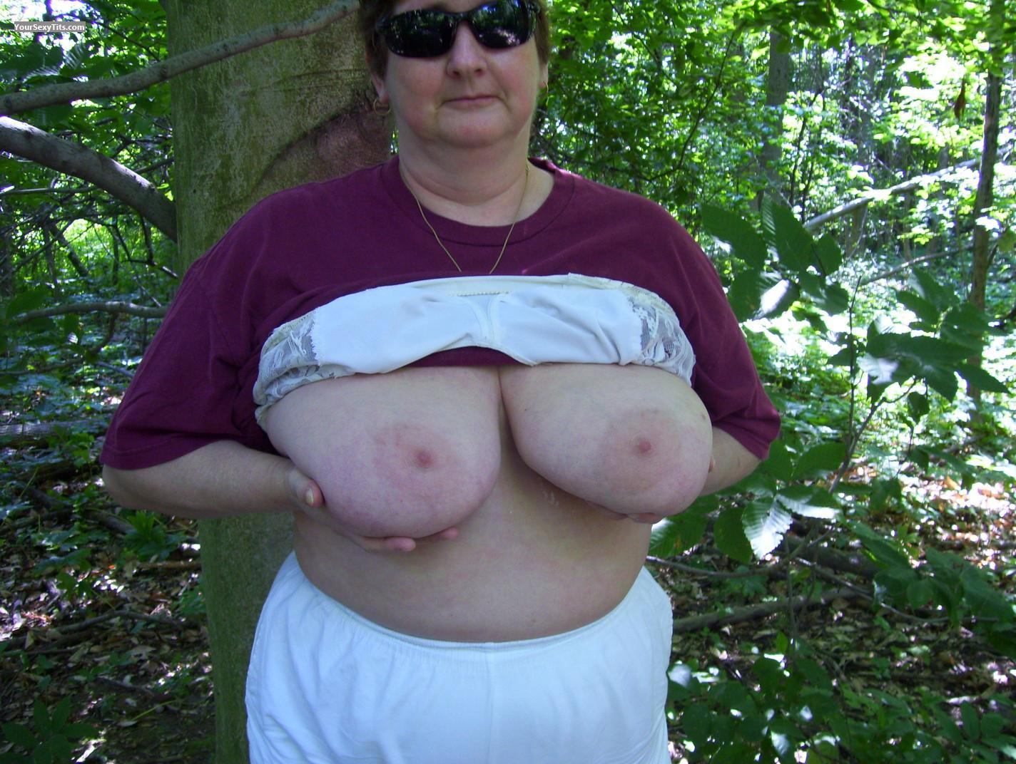 Tit Flash: Very Big Tits - Topless Boobies from Canada