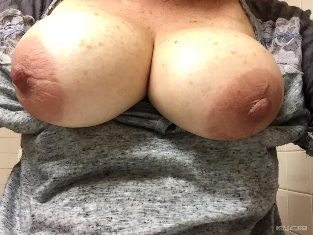 Tit Flash: My Very Big Tits (Selfie) - Apple Areolas from United Kingdom