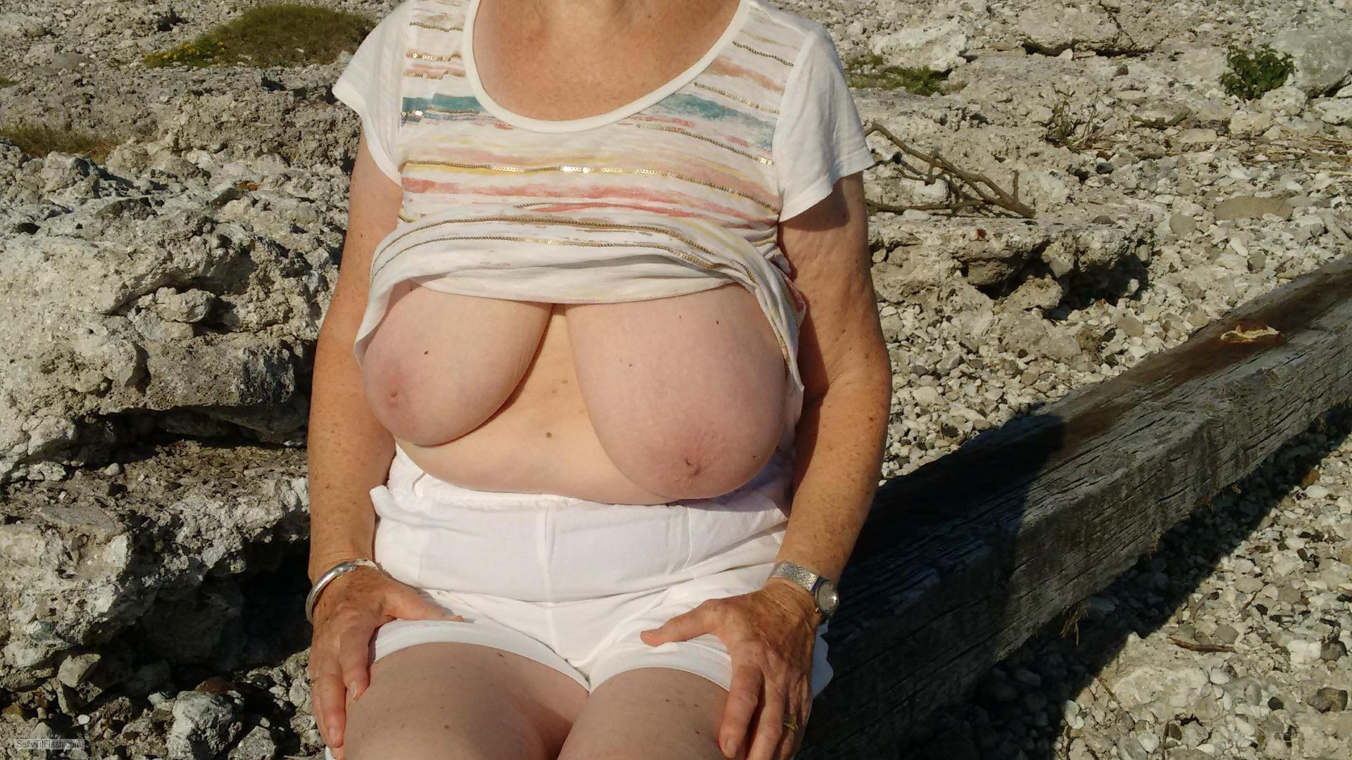 Tit Flash: Wife's Very Big Tits - Peggy from United Kingdom