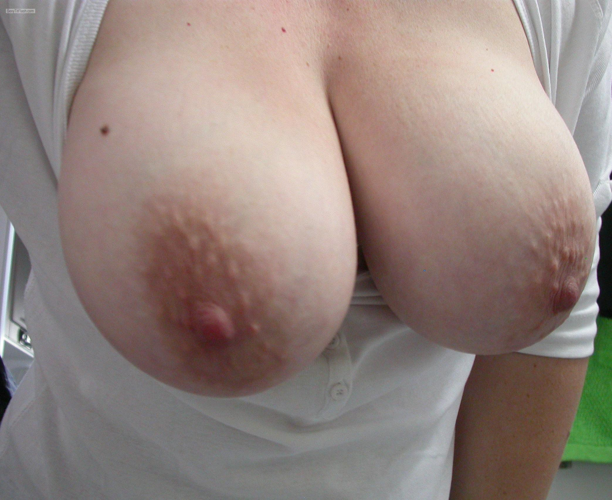 image My big boobs in white t shirt tank top see thru nipples