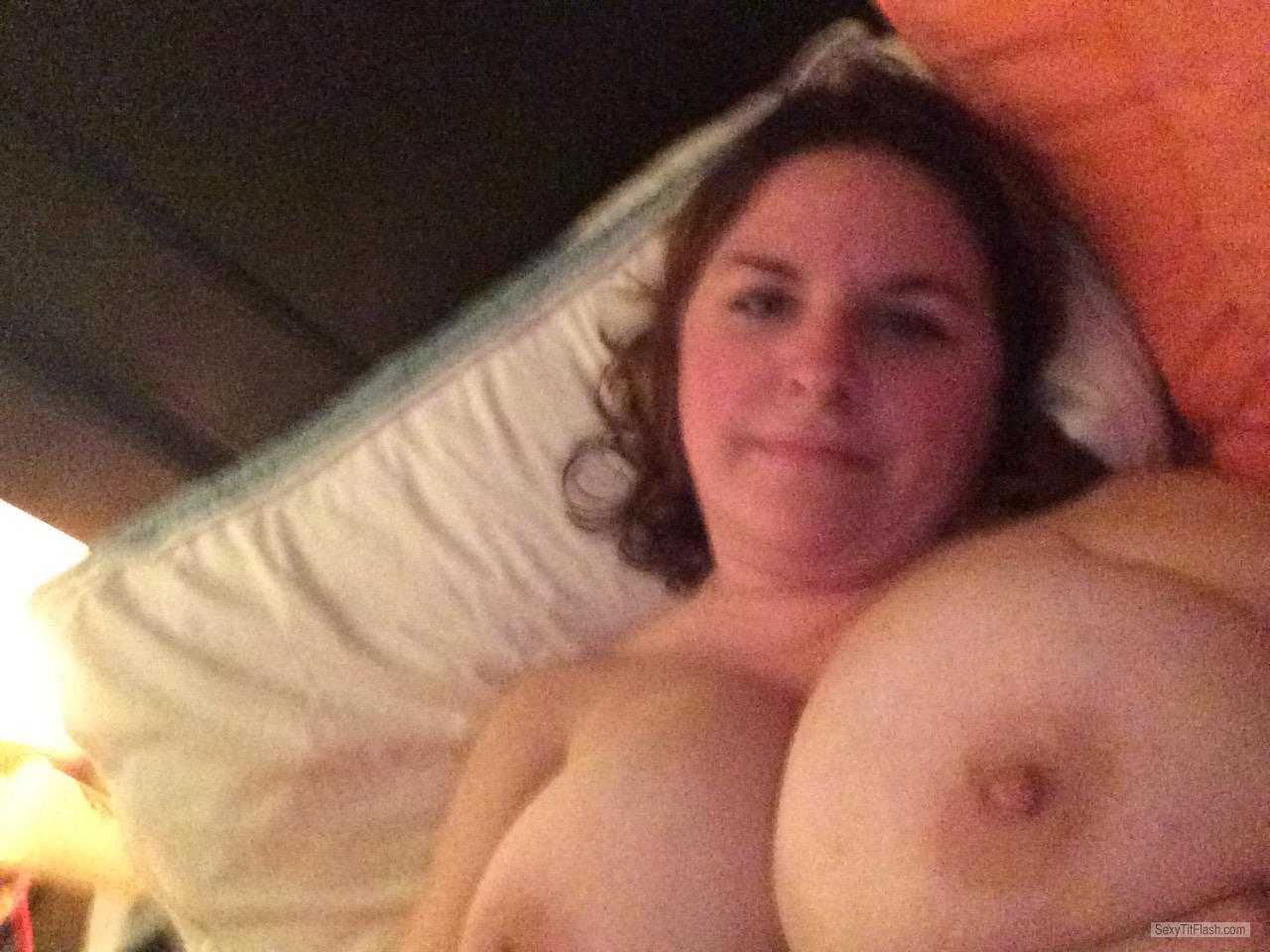 Tit Flash: Wife's Very Big Tits (Selfie) - Topless Bombs from United States