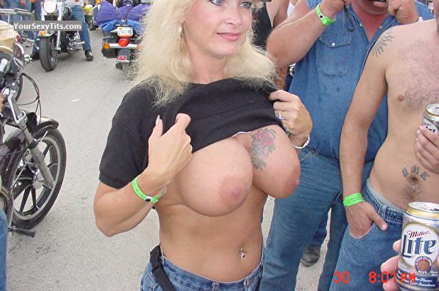 Tit Flash: Very Big Tits - Topless Harley from United States