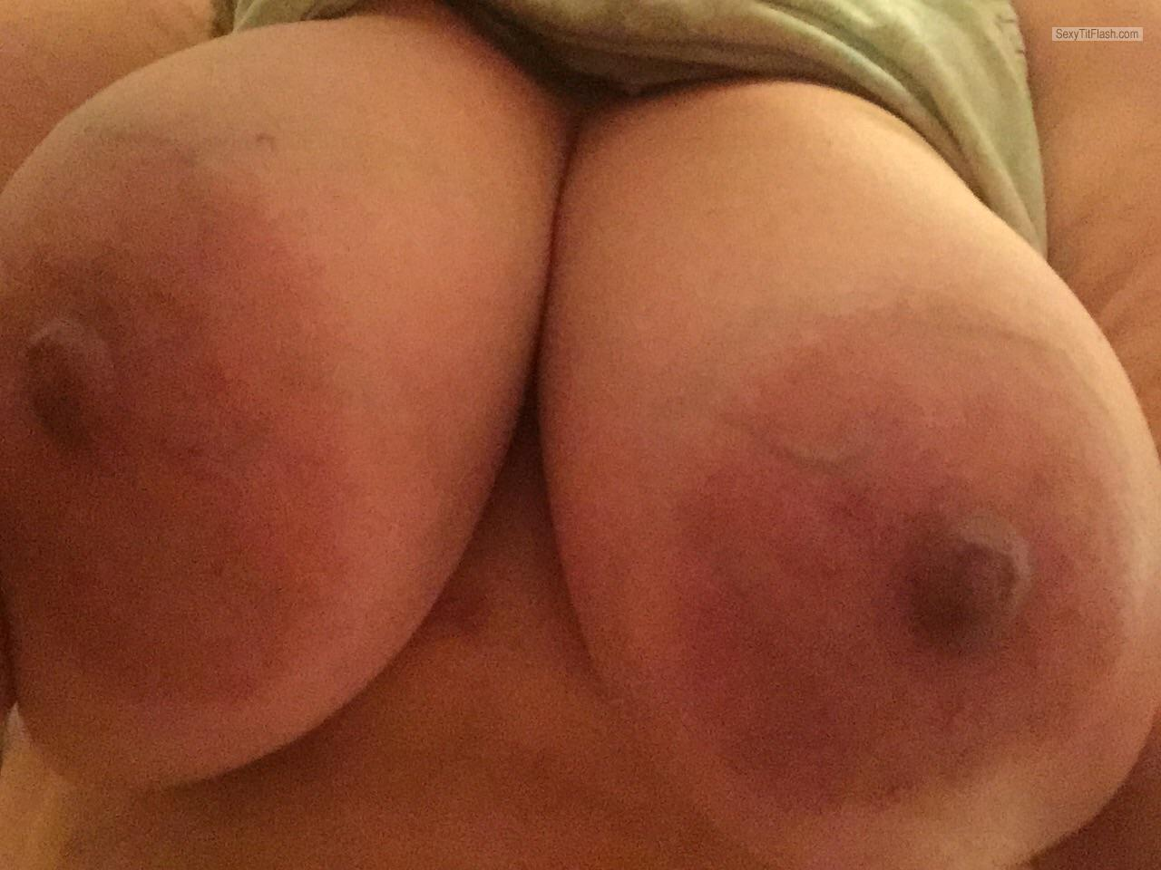 Tit Flash: My Very Big Tits (Selfie) - Topless Cammie from United States