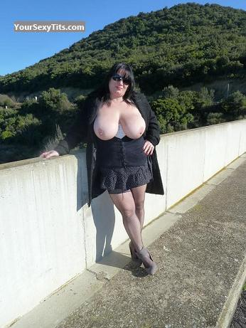 Tit Flash: Very Big Tits - Topless HARMONY from France