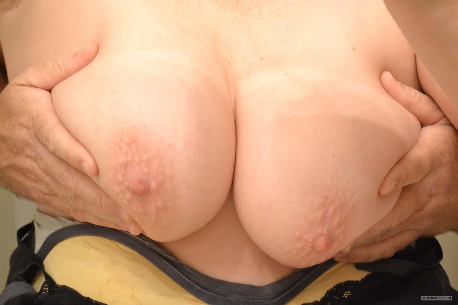 Tit Flash: Wife's Very Big Tits - Getting Squeeze from United States