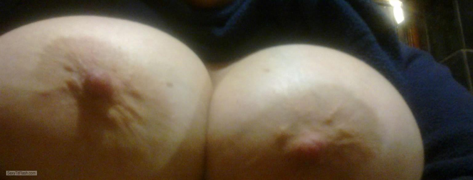Tit Flash: Wife's Very Big Tits (Selfie) - Hornymama from South Africa