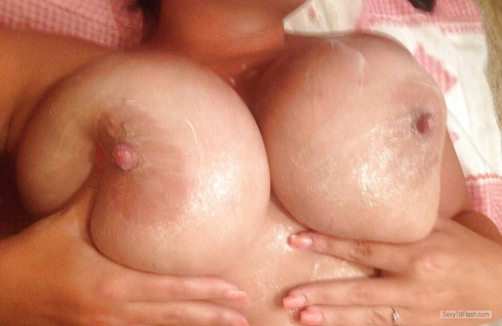 Tit Flash: Girlfriend's Very Big Tits - Big Creamy Tits from United Kingdom