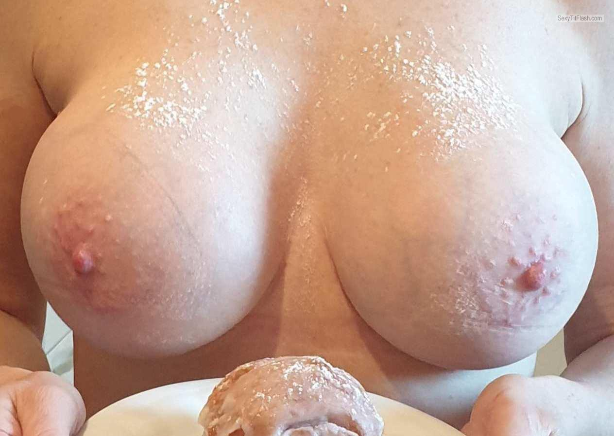 Tit Flash: Wife's Very Big Tits - Hot Wife from United Kingdom