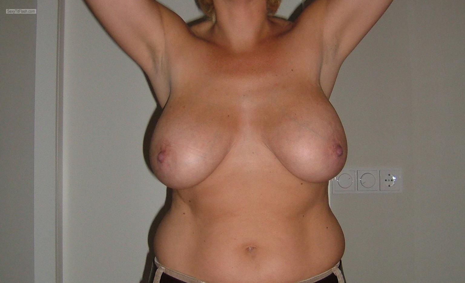 Tit Flash: My Tanlined Very Big Tits - Topless Try-out from Netherlands