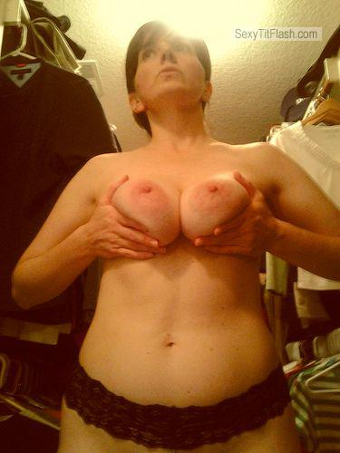Tit Flash: My Tanlined Medium Tits - Topless Sexy Whore Rhea from United States