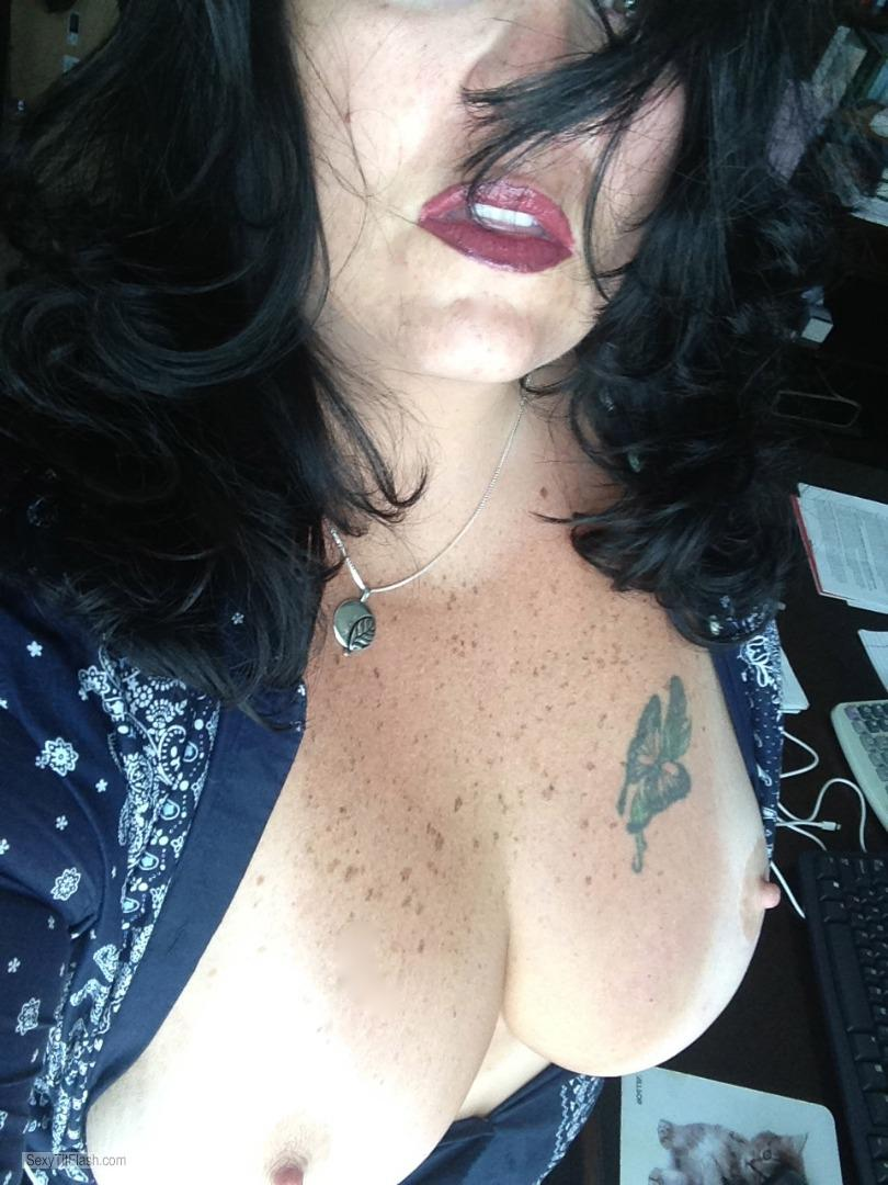 Tit Flash: My Tanlined Big Tits (Selfie) - Raven from United States