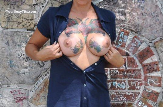 Tit Flash: Very Big Tits - Tattooed Babe from United States