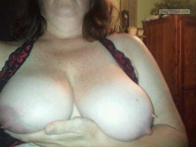 Tit Flash: My Tanlined Very Big Tits (Selfie) - Slut Wife from United States