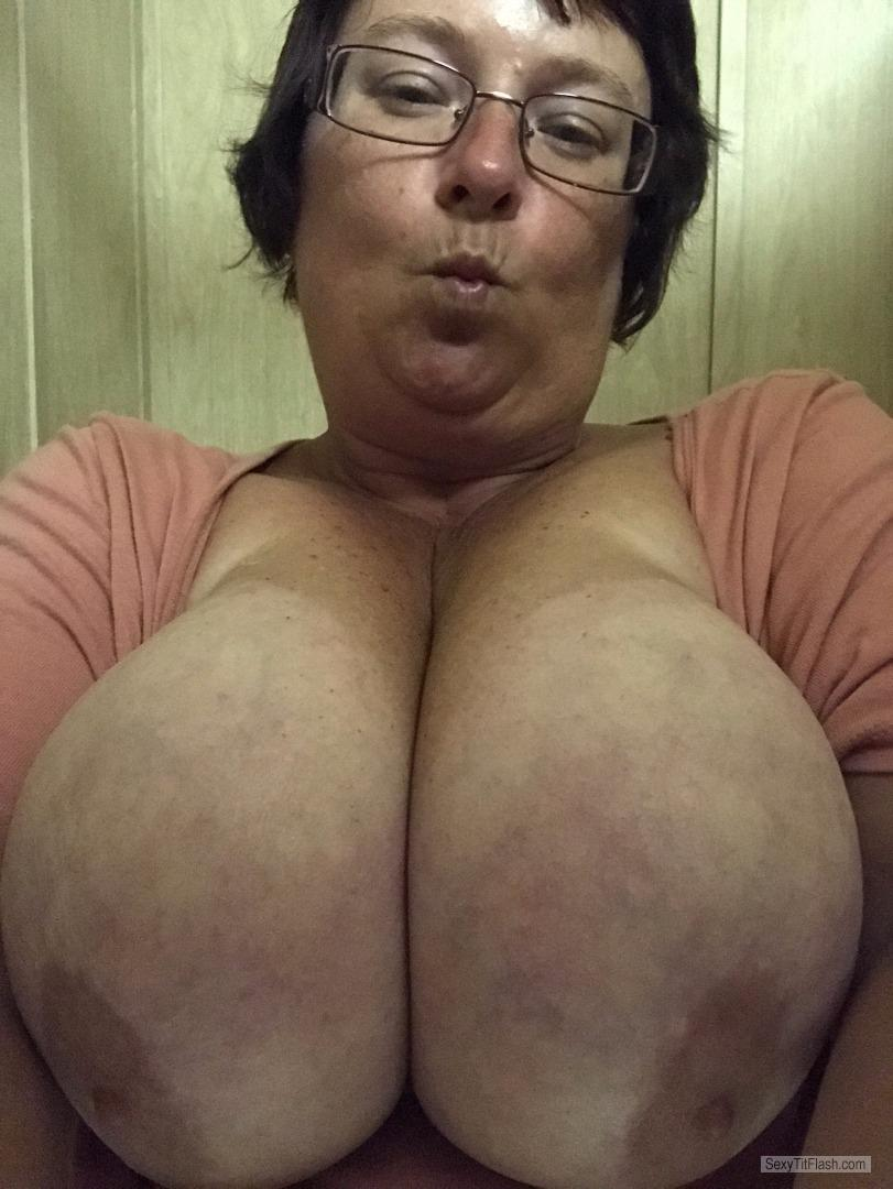 Tit Flash: My Tanlined Very Big Tits (Selfie) - Topless Candy from United States