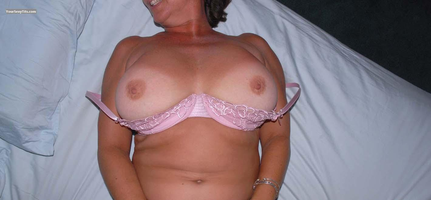 Tit Flash: Tanlined Very Big Tits - Sensitive At 48 from United States