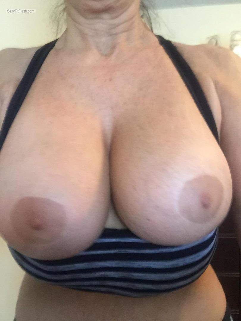Tit Flash: Wife's Very Big Tits (Selfie) - 38 DOUBLE D'S ON A MATURE WO from United States