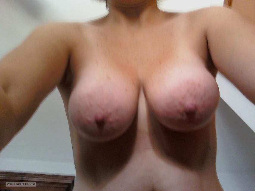 Tit Flash: Wife's Tanlined Big Tits (Selfie) - My Wifey from United States