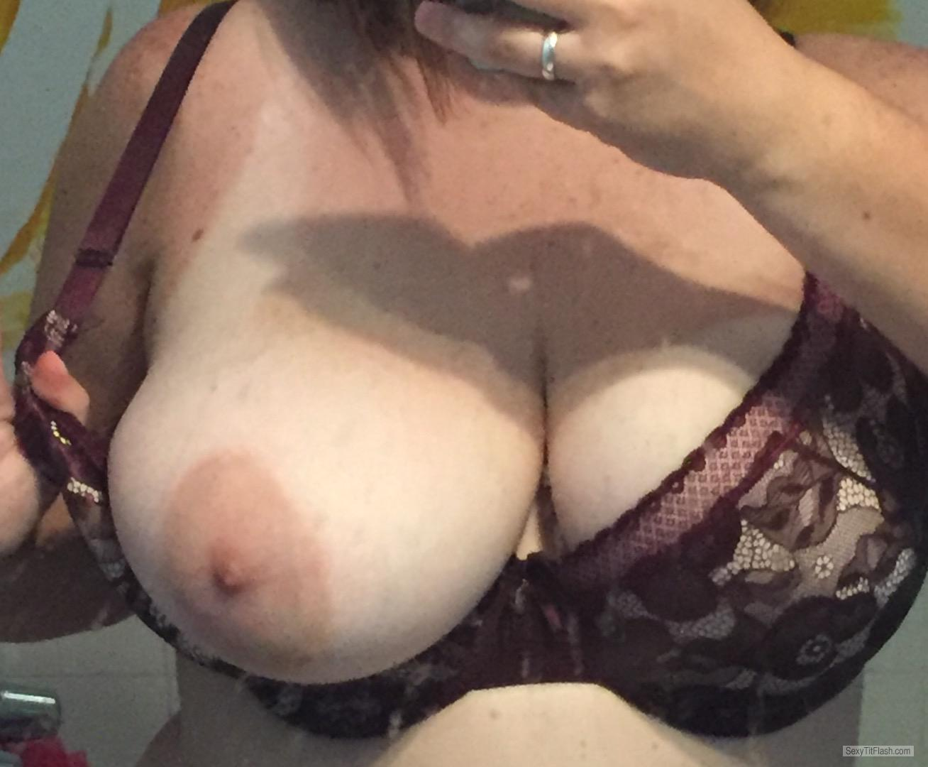 Tit Flash: My Tanlined Very Big Tits (Selfie) - Cleavage Queen from United States