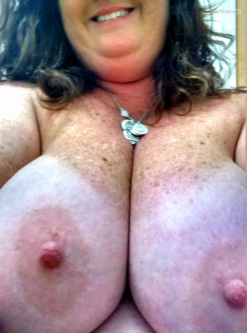 Tit Flash: My Tanlined Very Big Tits (Selfie) - Katherine from United Kingdom