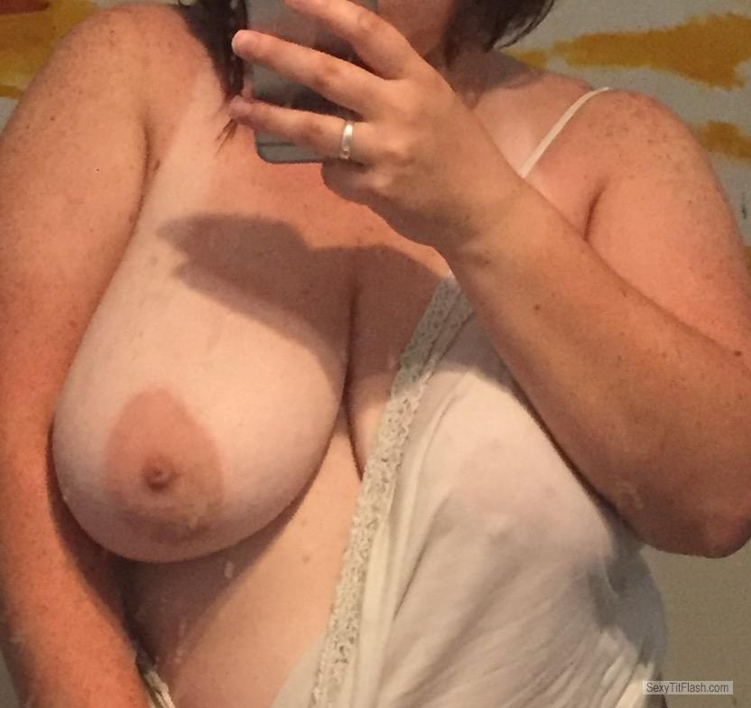 Tit Flash: My Tanlined Very Big Tits (Selfie) - Cleavagequeen from United States
