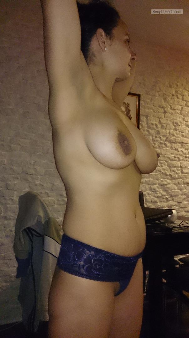 Tit Flash: Wife's Very Big Tits - Topless Andzia from Poland