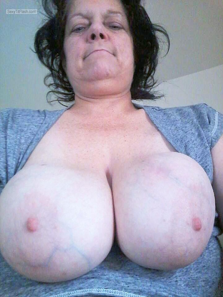 Tit Flash: My Very Big Tits (Selfie) - Topless Rachel from United States