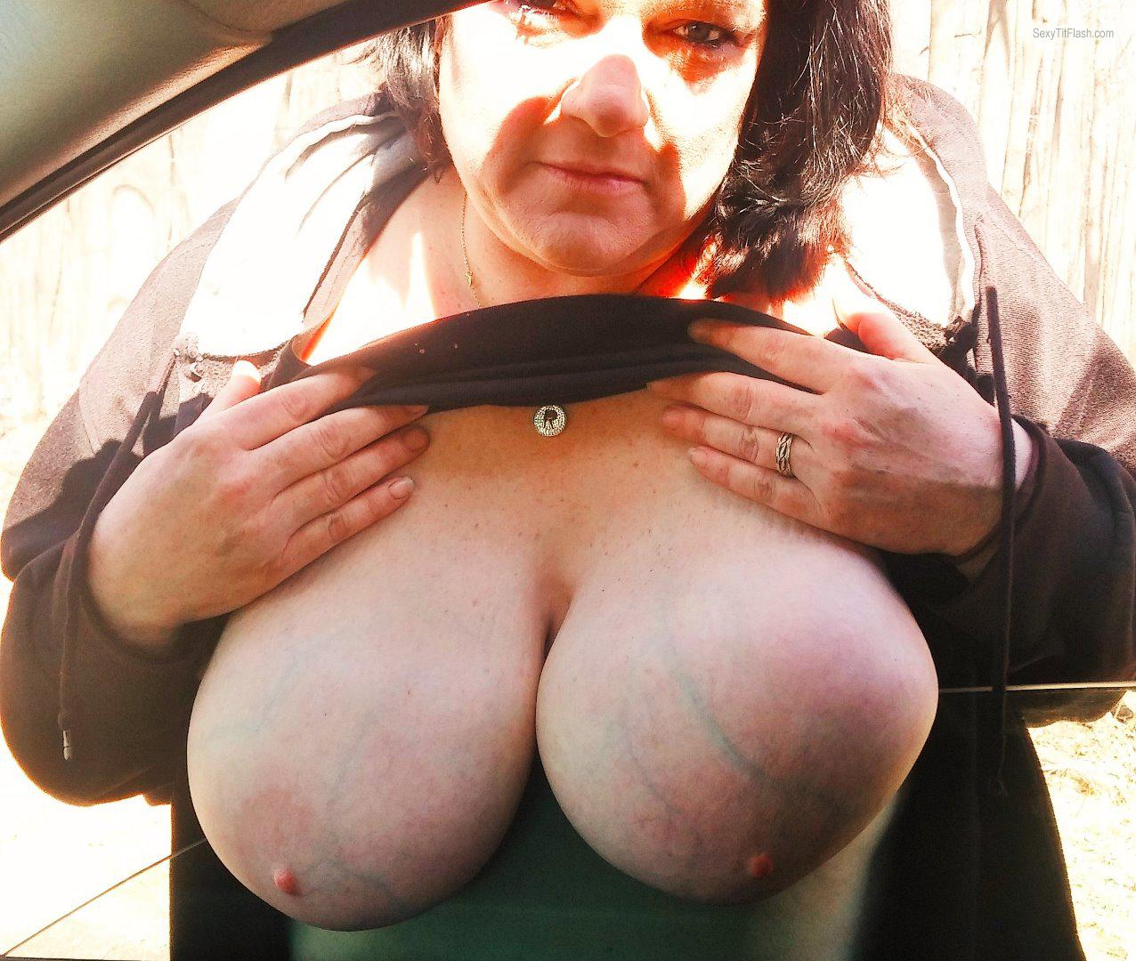 Tit Flash: My Very Big Tits - Topless Rachel from United States