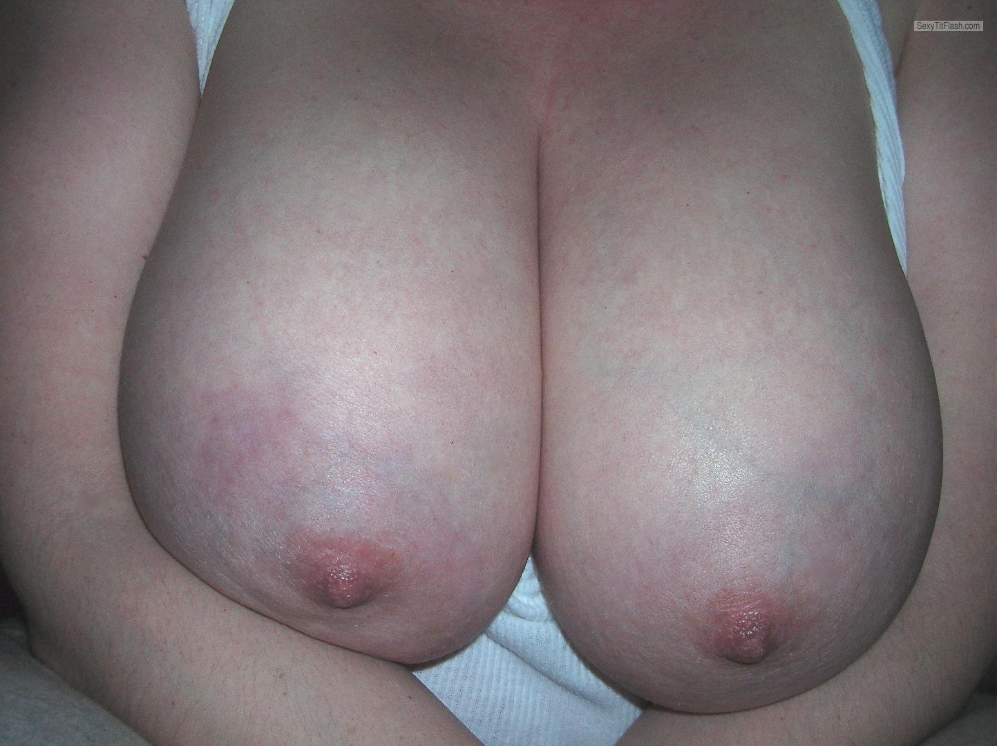 Tit Flash: Wife's Very Big Tits - Topless Melke from Luxembourg