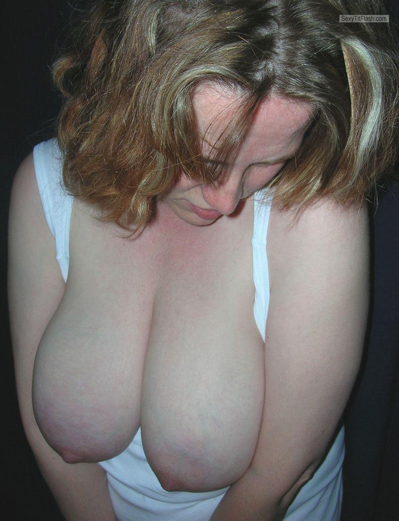 Tit Flash: Room Mate's Very Big Tits - Topless Topless German Udders from Germany