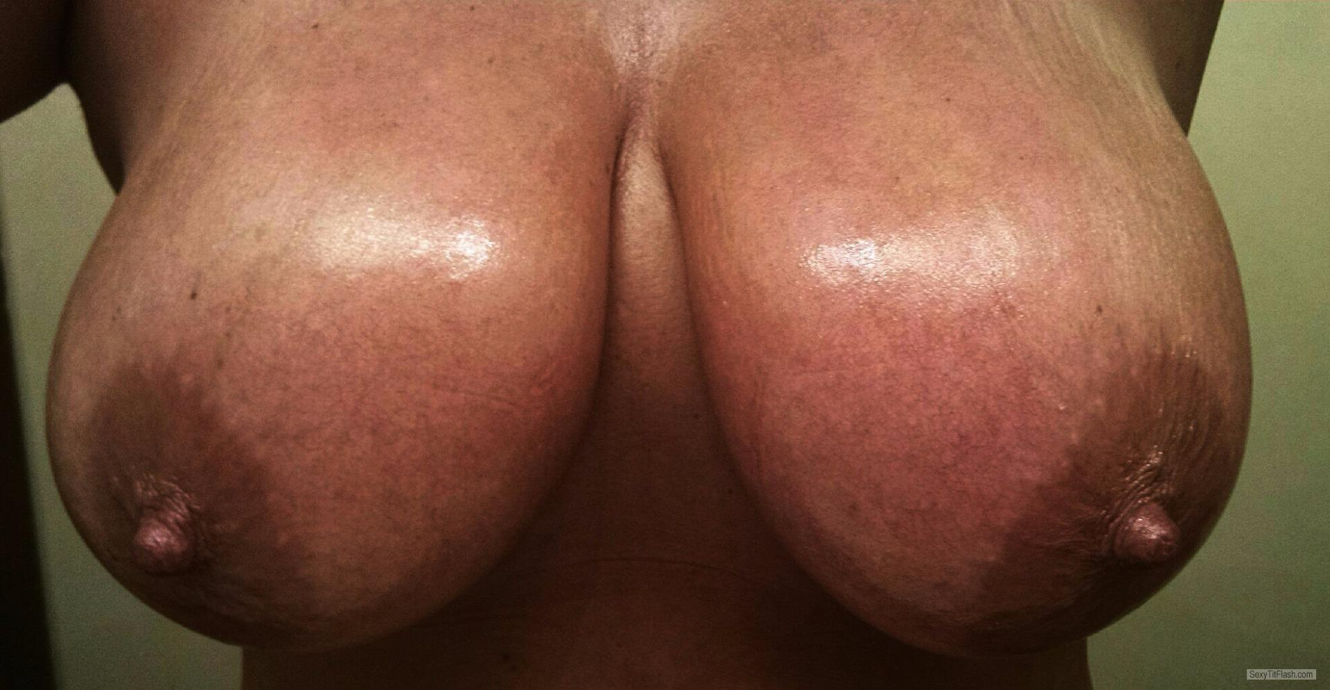 Very big Tits Of My Wife Selfie by All Oiled Up