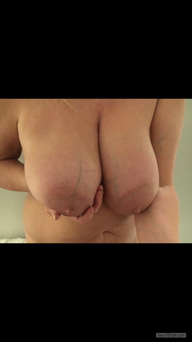 Tit Flash: Wife's Very Big Tits - Heavy And Hanging from United Kingdom