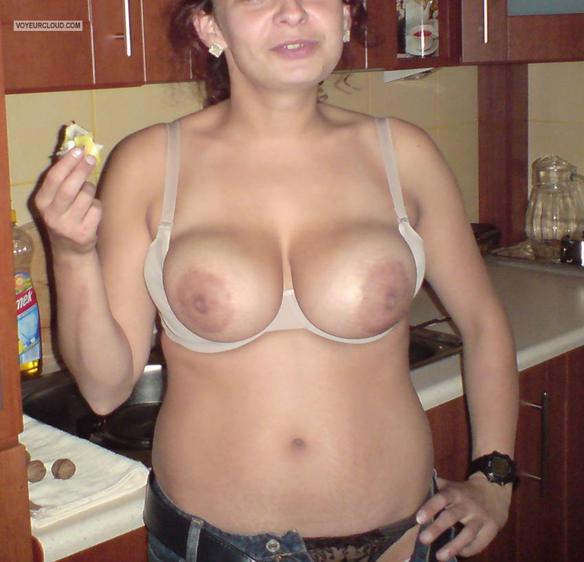 Tit Flash: Wife's Tanlined Very Big Tits - Andzia from Poland
