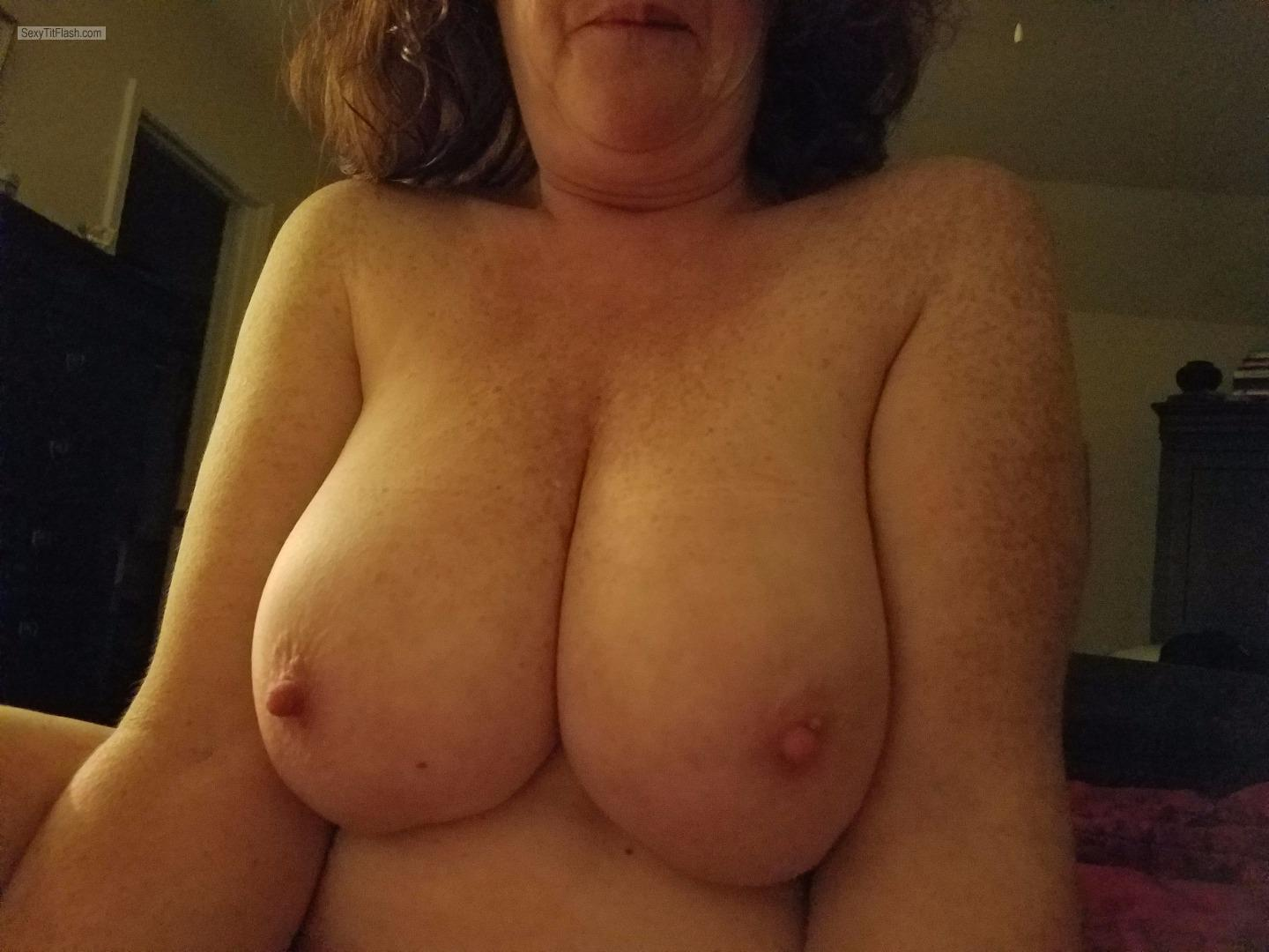 Tit Flash: My Very Big Tits - Topless Ginger Jugs from United States