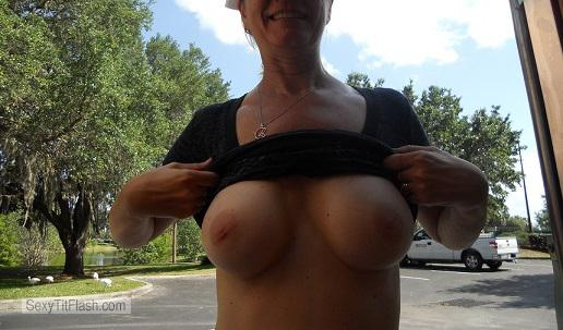 Tit Flash: Wife's Medium Tits - Palm from United States