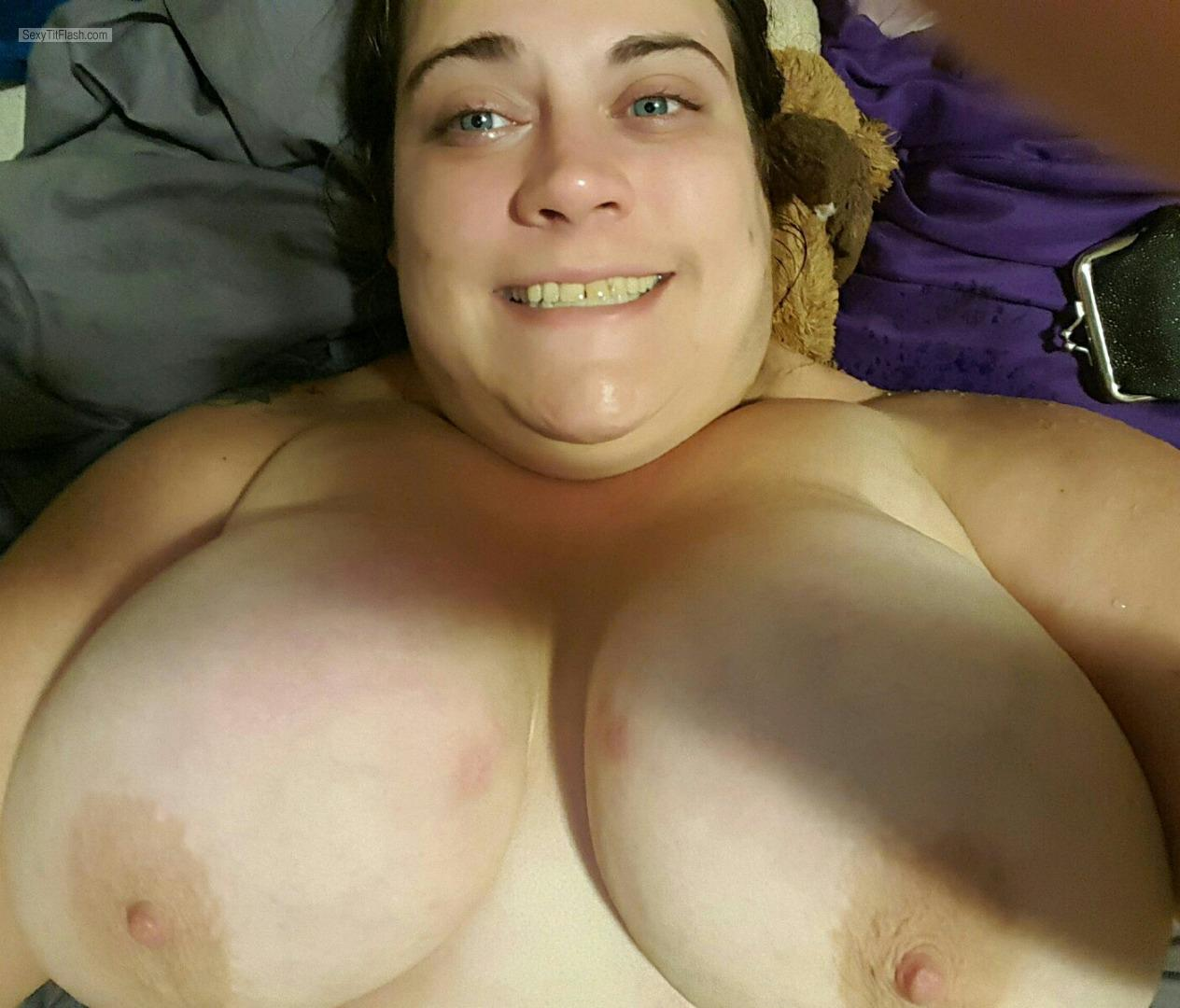 Tit Flash: My Very Big Tits (Selfie) - Topless Jackelyn858 from United States