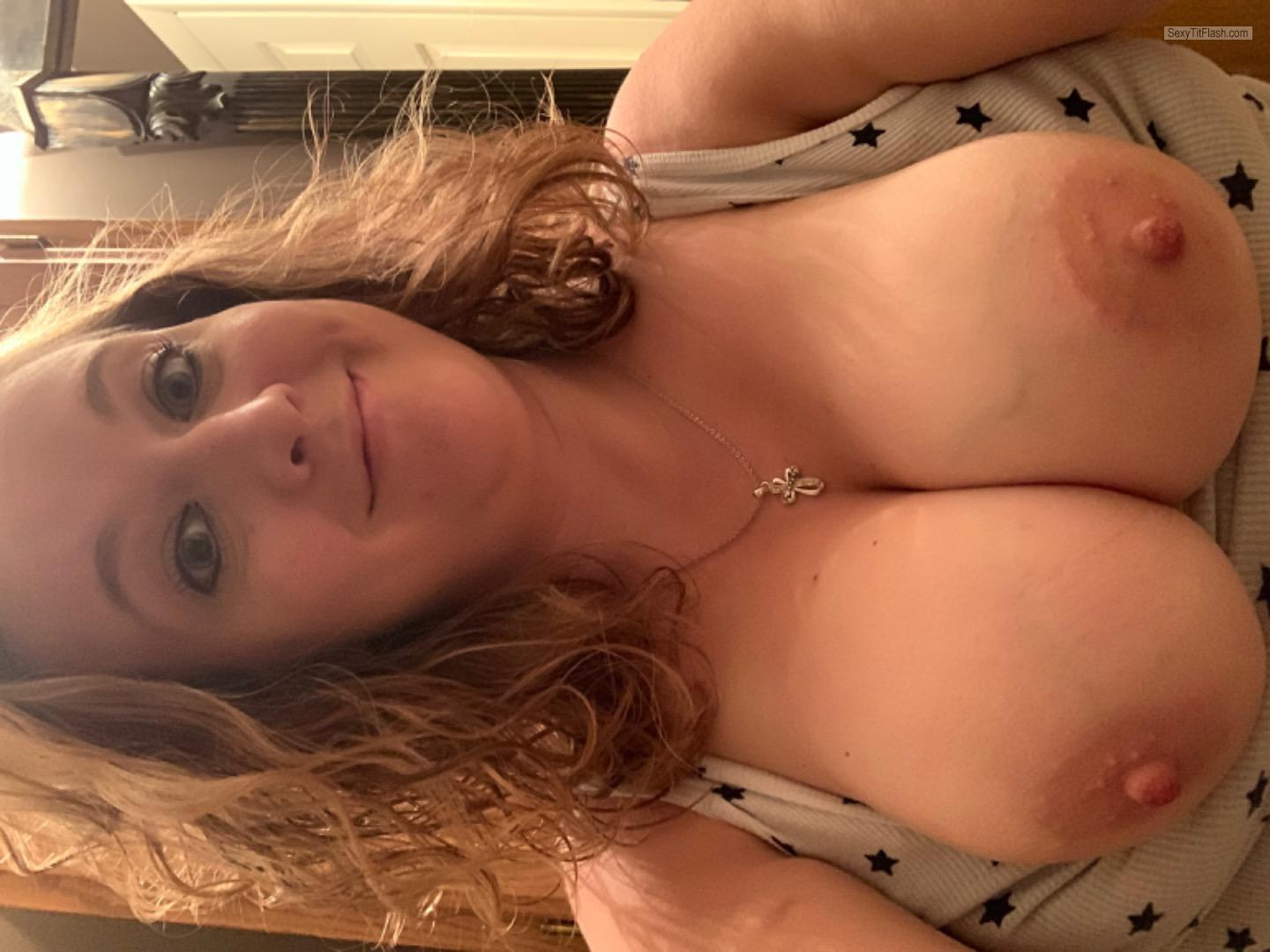 Tit Flash: My Very Big Tits (Selfie) - Topless Just Tits from United States