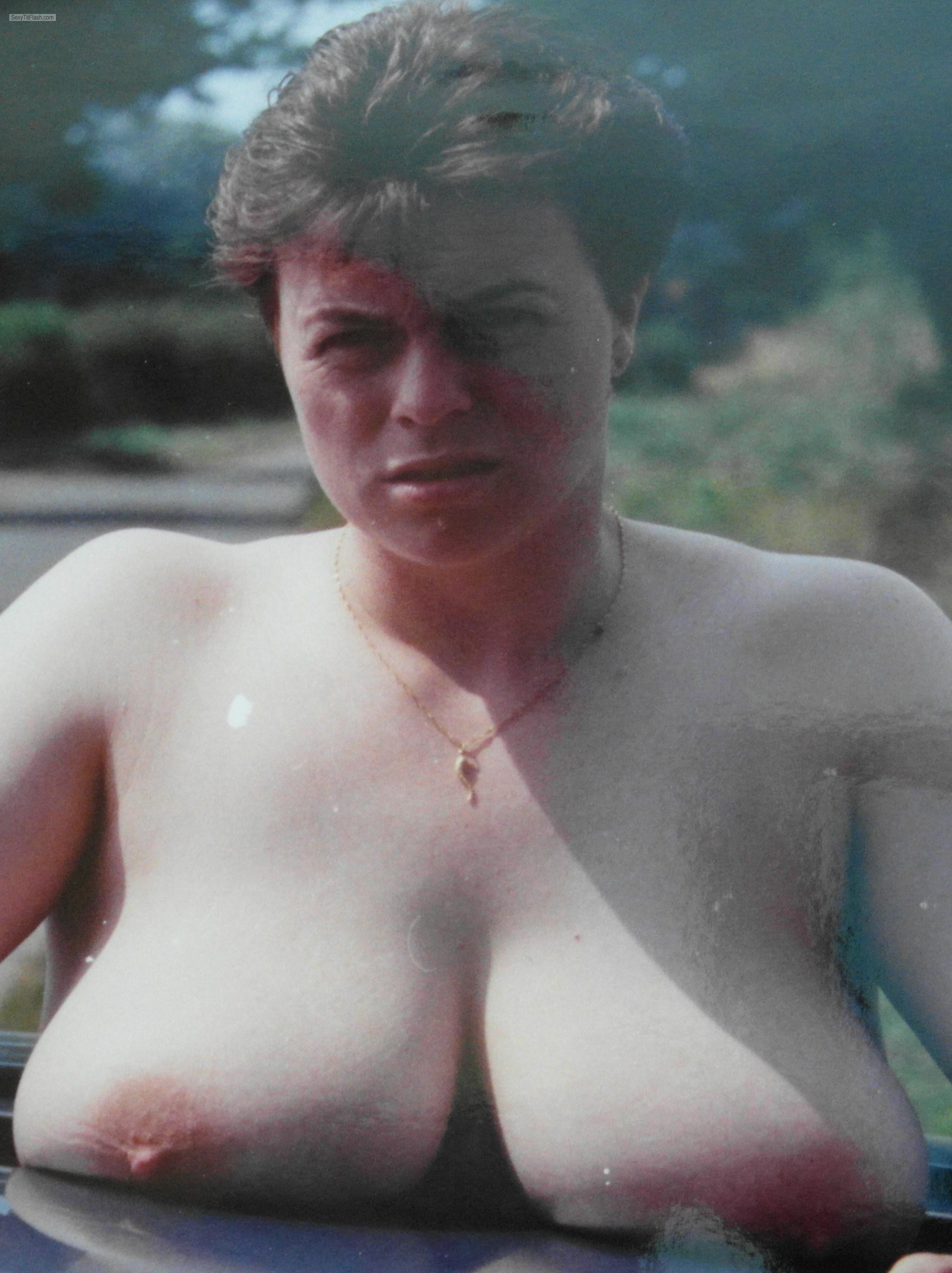 Tit Flash: My Friend's Very Big Tits - Topless Retro Nude from United Kingdom