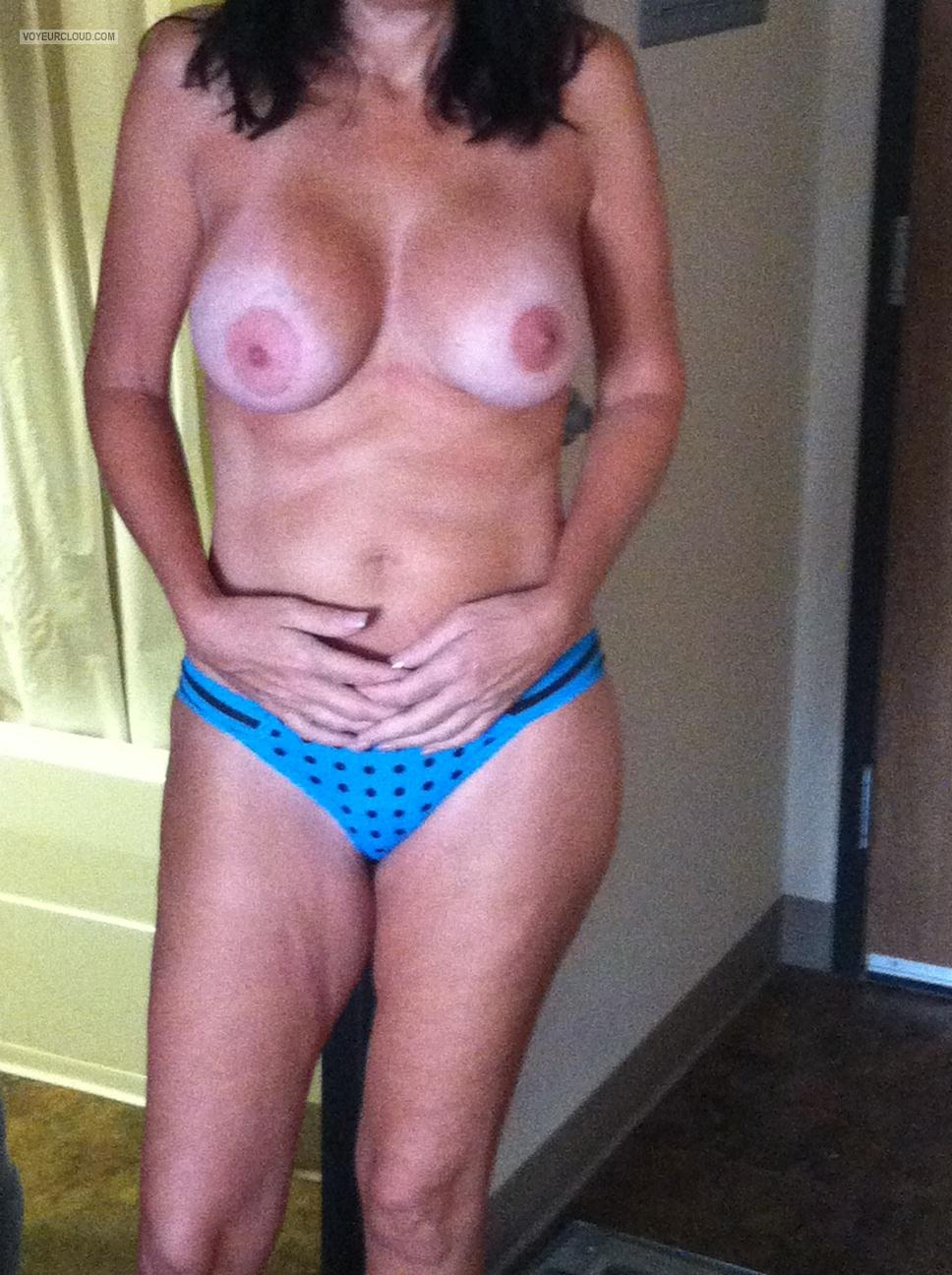 Tit Flash: Wife's Tanlined Very Big Tits - My Beautiful Baby from United States