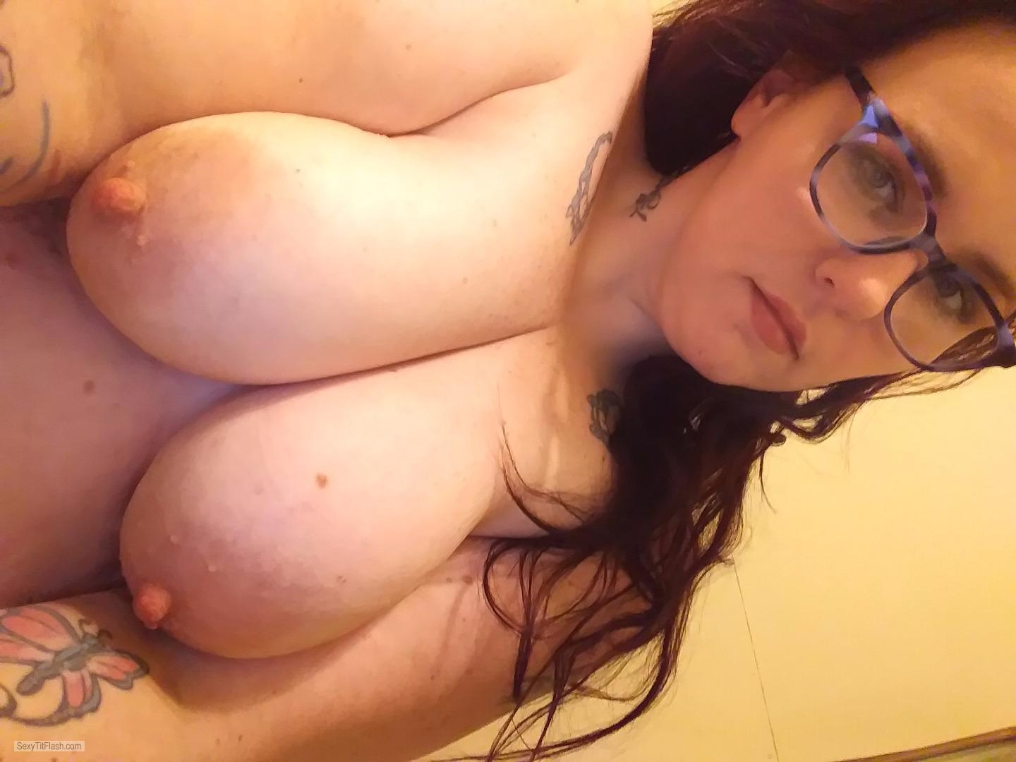 Tit Flash: My Very Big Tits (Selfie) - Topless Dizzy from United States
