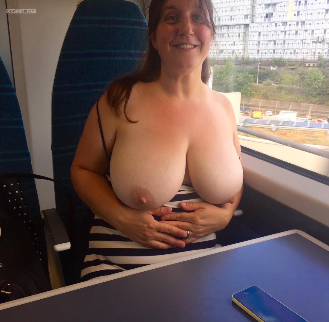 Wife flashing boobs