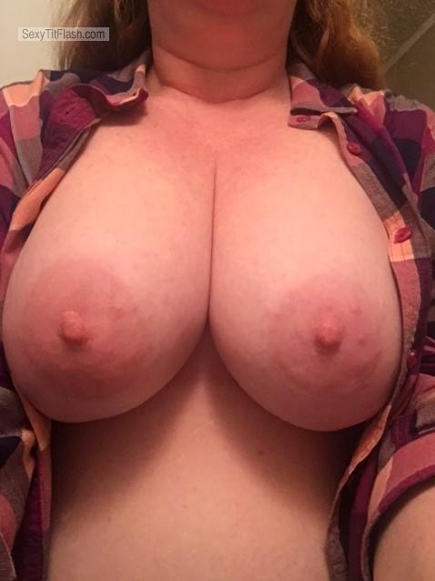 Tit Flash: Ex-Wife's Very Big Tits (Selfie) - Red 40 Babe from United States