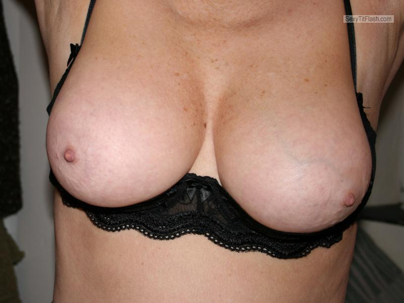Tit Flash: Wife's Medium Tits - Pam from France