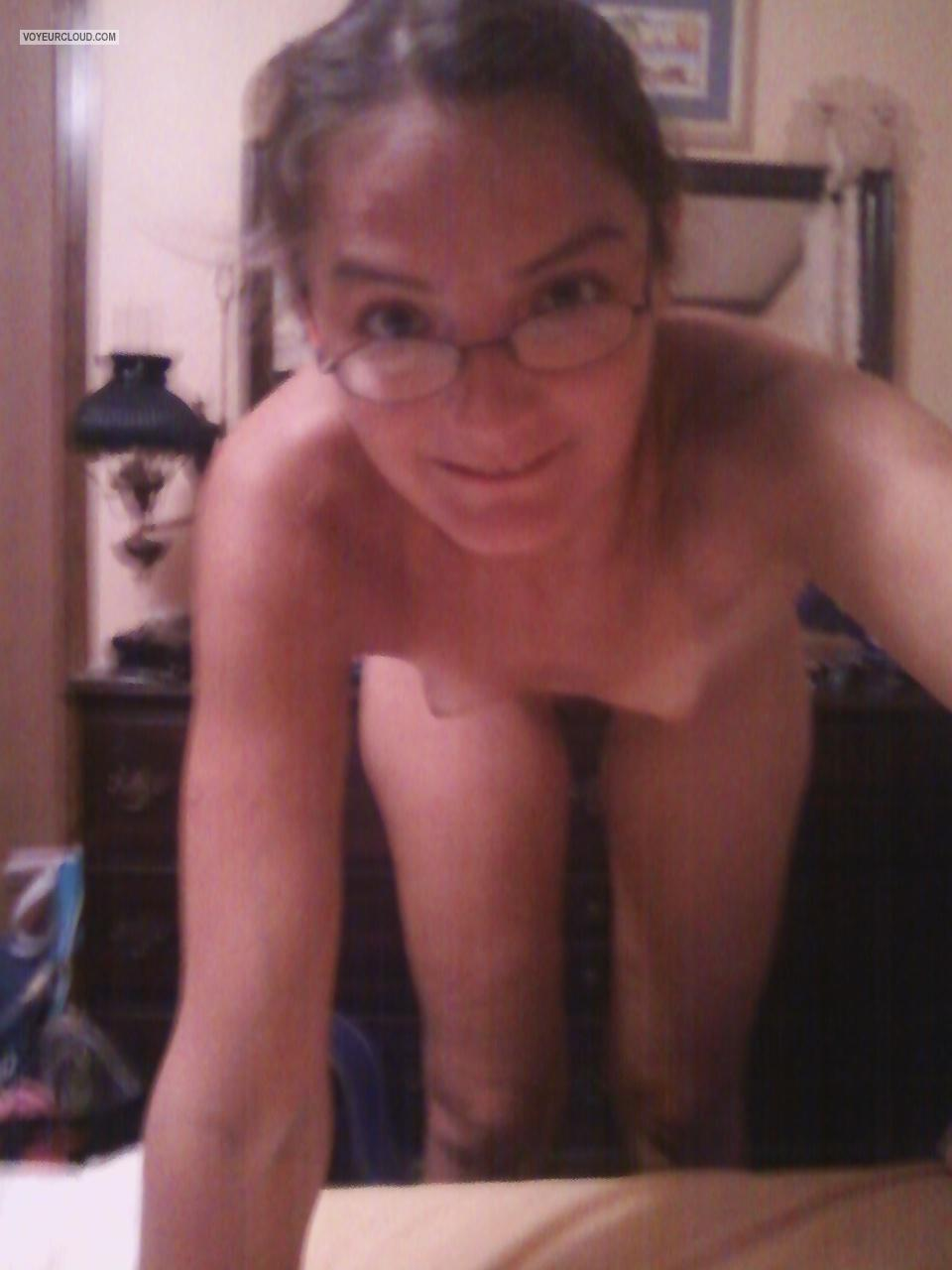 Tit Flash: My Very Small Tits By IPhone (Selfie) - Topless Cellar Dweller from United States