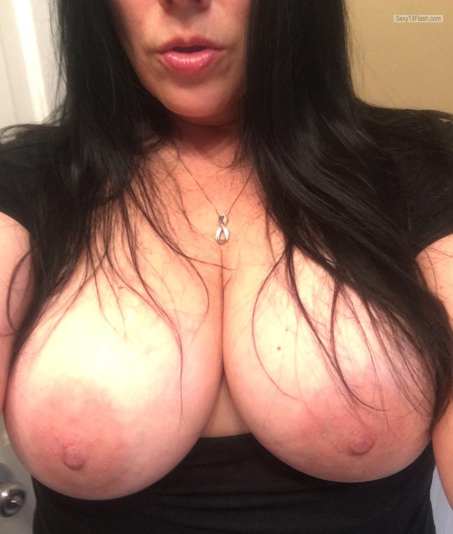Tit Flash: My Very Small Tits (Selfie) - Topless Shan from United States