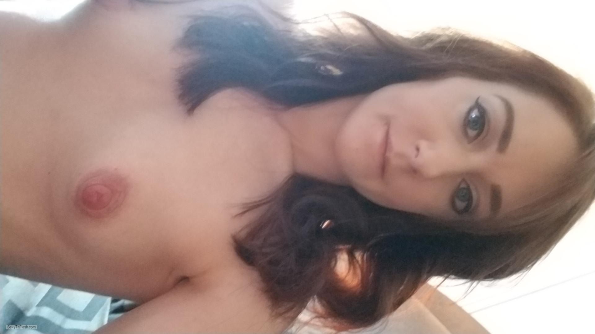 Tit Flash: My Very Small Tits (Selfie) - Topless Tiny Tina from United States