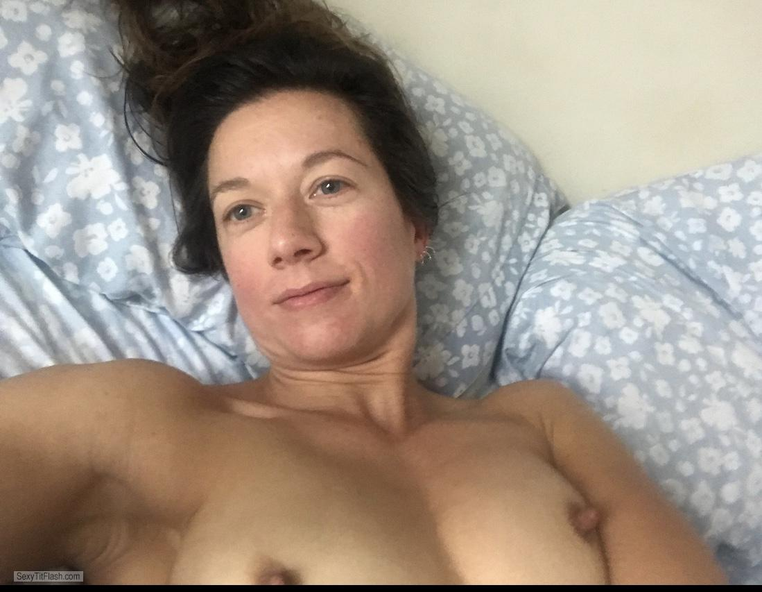 Tit Flash: My Very Small Tits (Selfie) - Topless Fit MILF from United States