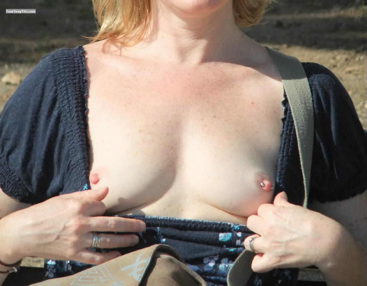 Tit Flash: Very Small Tits - J from United KingdomPierced Nipples