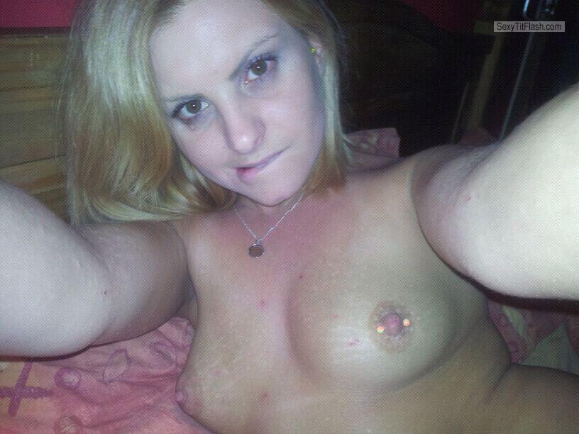 Tit Flash: My Very Small Tits (Selfie) - Topless Becca from United Kingdom