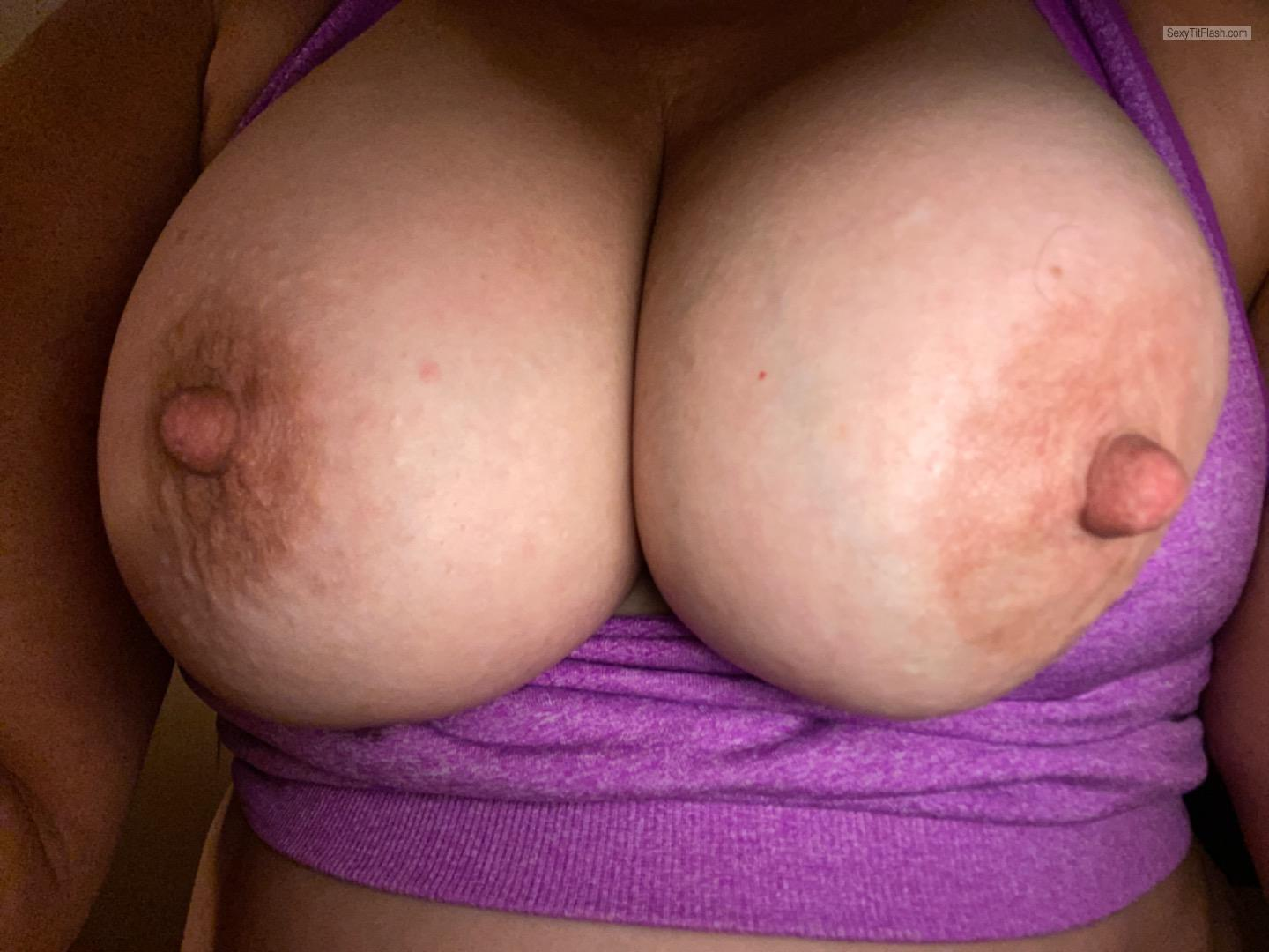 Tit Flash: My Very Small Tits (Selfie) - Hotoldie from United States
